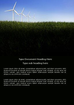 Wind Mills Word Template, Cover Page, 03715, Nature & Environment — PoweredTemplate.com