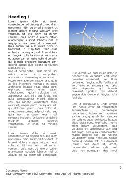 Wind Mills Word Template, First Inner Page, 03715, Nature & Environment — PoweredTemplate.com