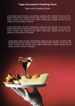 Snacks and Cocktail Word Template, Cover Page, 03722, Careers/Industry — PoweredTemplate.com