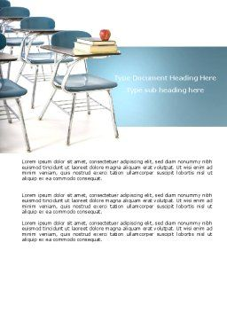 School Desk In A Classroom Word Template, Cover Page, 03727, Education & Training — PoweredTemplate.com