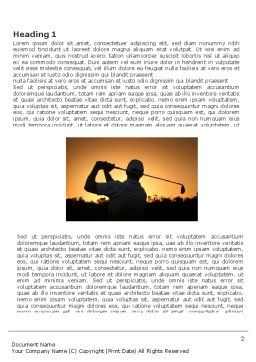 Golf Game On The Sunset Word Template, First Inner Page, 03731, Sports — PoweredTemplate.com