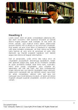Student In The Library Word Template, Second Inner Page, 03732, Education & Training — PoweredTemplate.com