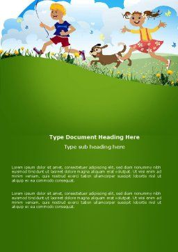 Happy Childhood Word Template, Cover Page, 03756, Education & Training — PoweredTemplate.com