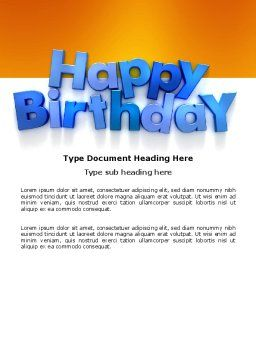 Happy Birthday Word Template, Cover Page, 03817, Holiday/Special Occasion — PoweredTemplate.com