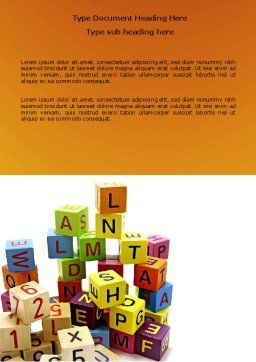 Toy Bricks Word Template, Cover Page, 03824, Education & Training — PoweredTemplate.com