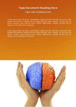 Cerebral Hemispheres Word Template, Cover Page, 03840, Consulting — PoweredTemplate.com