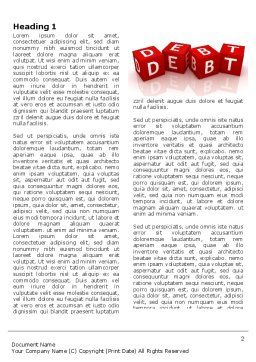 Debt Word Template, First Inner Page, 03841, Financial/Accounting — PoweredTemplate.com