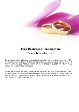 Wedding Rings In A Purple Napkin Word Template, Cover Page, 03848, Holiday/Special Occasion — PoweredTemplate.com