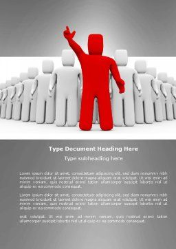 Red Leader Word Template, Cover Page, 03853, 3D — PoweredTemplate.com