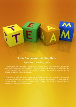 Team Word Template, Cover Page, 03855, Business Concepts — PoweredTemplate.com