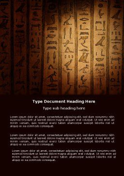 Egyptian Hieroglyphs Word Template, Cover Page, 03864, Religious/Spiritual — PoweredTemplate.com