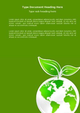 Green Planet Word Template Cover Page