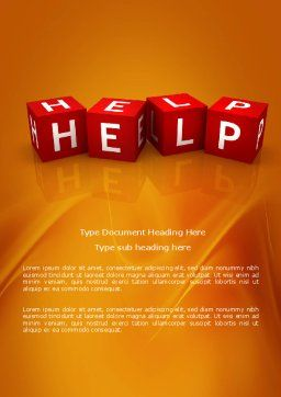 Help Cubes Word Template, Cover Page, 03869, Business Concepts — PoweredTemplate.com