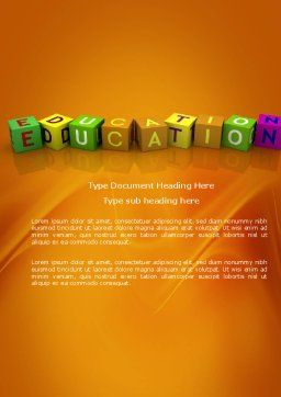Visual Education Word Template, Cover Page, 03875, Education & Training — PoweredTemplate.com