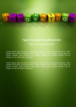 Innovation Cubes Word Template Cover Page