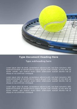 Tennis Ball Word Template, Cover Page, 03918, Sports — PoweredTemplate.com