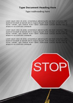 Stop Sign Word Template, Cover Page, 03928, Cars/Transportation — PoweredTemplate.com