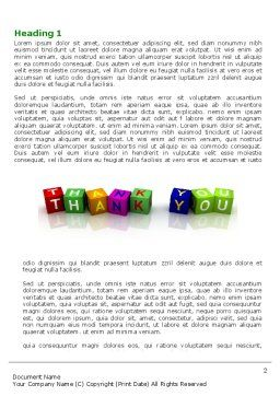 Thank You Cubes Word Template, First Inner Page, 03944, Business Concepts — PoweredTemplate.com