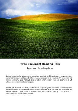 Green Field Under The Sun And Blue Sky Word Template, Cover Page, 03958, Nature & Environment — PoweredTemplate.com