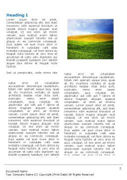 Green Field Under The Sun And Blue Sky Word Template, First Inner Page, 03958, Nature & Environment — PoweredTemplate.com
