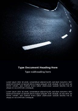 Sharp Turn In A Highway Word Template, Cover Page, 03961, Cars/Transportation — PoweredTemplate.com