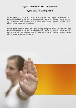 Stop Gesture Word Template, Cover Page, 03972, People — PoweredTemplate.com