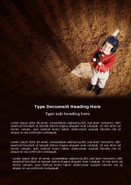 Little Baseball Player Word Template, Cover Page, 03974, Sports — PoweredTemplate.com