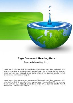 Blue Water Of A Green Planet Word Template, Cover Page, 03986, Nature & Environment — PoweredTemplate.com