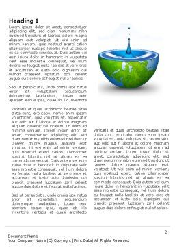 Blue Water Of A Green Planet Word Template, First Inner Page, 03986, Nature & Environment — PoweredTemplate.com