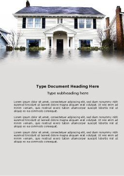 Flood Word Template, Cover Page, 04003, Nature & Environment — PoweredTemplate.com