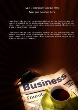 Business Newspaper With Cup Of Coffee Word Template, Cover Page, 04004, Business — PoweredTemplate.com