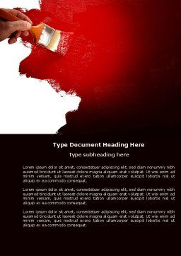 Red Paint Word Template Cover Page