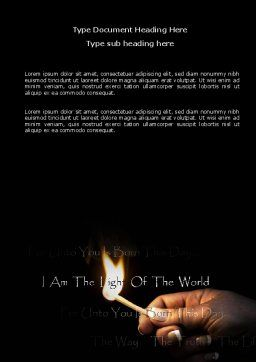 I Am The Light Of The World Word Template Cover Page
