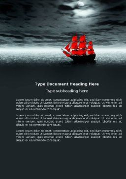 Scarlet Sails Word Template, Cover Page, 04038, Art & Entertainment — PoweredTemplate.com
