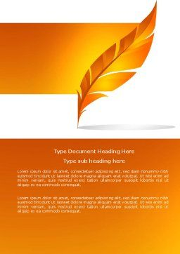 Feather In Orange Color Word Template Cover Page