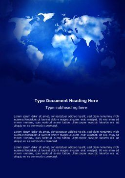 Wide World Blue Map Word Template, Cover Page, 04050, Global — PoweredTemplate.com