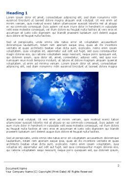 Wide World Blue Map Word Template, First Inner Page, 04050, Global — PoweredTemplate.com