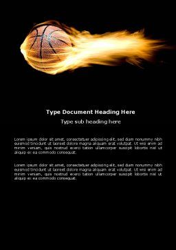 Flaming Basketball Word Template, Cover Page, 04054, Sports — PoweredTemplate.com