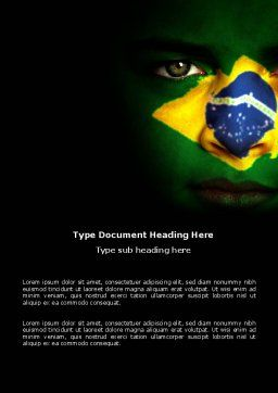 Face Of Brazil Word Template, Cover Page, 04059, Flags/International — PoweredTemplate.com