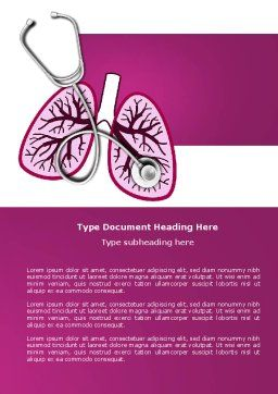 Human Lungs Word Template, Cover Page, 04078, Medical — PoweredTemplate.com