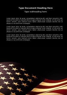 Old Glory USA Flag Word Template Cover Page
