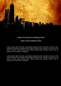 Skyline Of A City Word Template, Cover Page, 04096, Construction — PoweredTemplate.com