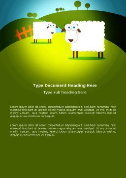 Sheep In Primitive Picture Word Template, Cover Page, 04099, Agriculture and Animals — PoweredTemplate.com