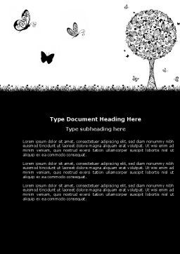 Butterfly Motif Word Template, Cover Page, 04103, Education & Training — PoweredTemplate.com
