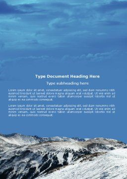 Snowy Mountains Word Template, Cover Page, 04123, Nature & Environment — PoweredTemplate.com