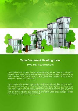 Green District Word Template, Cover Page, 04147, Construction — PoweredTemplate.com