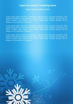 Snowflake Theme Word Template, Cover Page, 04167, Holiday/Special Occasion — PoweredTemplate.com