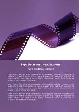 Film Strip In Purple Color Word Template Cover Page