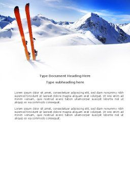 Skis Word Template, Cover Page, 04169, Sports — PoweredTemplate.com