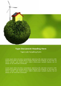 Green Planetoid Word Template, Cover Page, 04184, Nature & Environment — PoweredTemplate.com